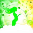 Pregnant girl on green background — Stock vektor #25634531