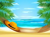 Hammock on the beach — Stock Vector