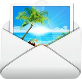 Photo palms on a sea in an envelope — Stock Vector