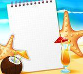 Cuaderno sobre el fondo de la playa — Vector de stock