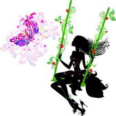 Fairy on a swing with a butterfly — Stock Vector