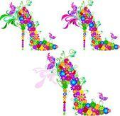 明るい花の靴 — ストックベクタ