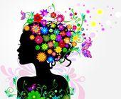 Girl in flowers — Stock Vector