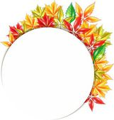 Round banner with autumn leaves — Stock Vector