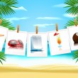 Photo icons on the beach — Stock Vector