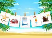 Foto-icons am strand — Stockvektor