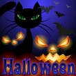 Background for Halloween, black cat — Stock Vector #30342703