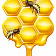 Honeycomb with bees — Stock Vector