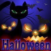 Background for Halloween, black cat — Stock Vector