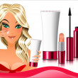 Stock Vector: Cosmetics, girl gets cream