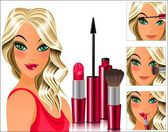 Girl does makeup — Stock Vector