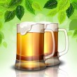Mug of beer on a background of green leaves — Imagen vectorial