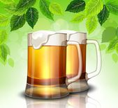 Mug of beer on a background of green leaves — Stock Vector