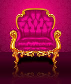 Bright pink chair on the background of beautiful wallpapers — Vetorial Stock
