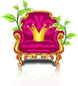 Bright pink armchair with golden crown — Stock Vector