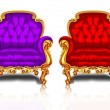 Retro chairs with gold trim — Stock Vector