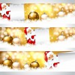Happy Santa Claus on banners — Imagen vectorial