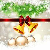 Jul bakgrund med guld klockor — Stockvektor