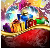 Tarjeta de año nuevo con regalos — Vector de stock