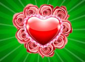 Red heart and pink roses — Vector de stock