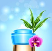 Jar of cream with orchid flower — Stock Vector
