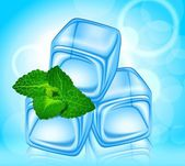 Beautiful ice with a sprig of mint — Stock Vector