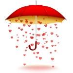 Umbrella with hearts — Stock Photo