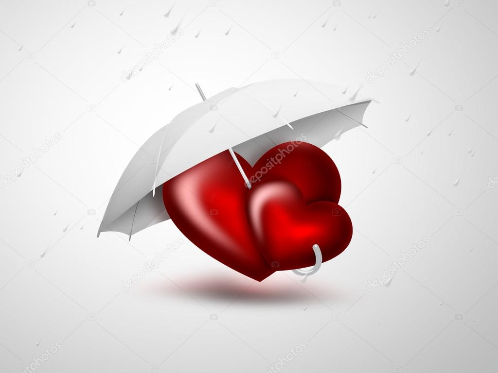 Romantic card with two red heart under the umbrella — Stock Photo #15689775