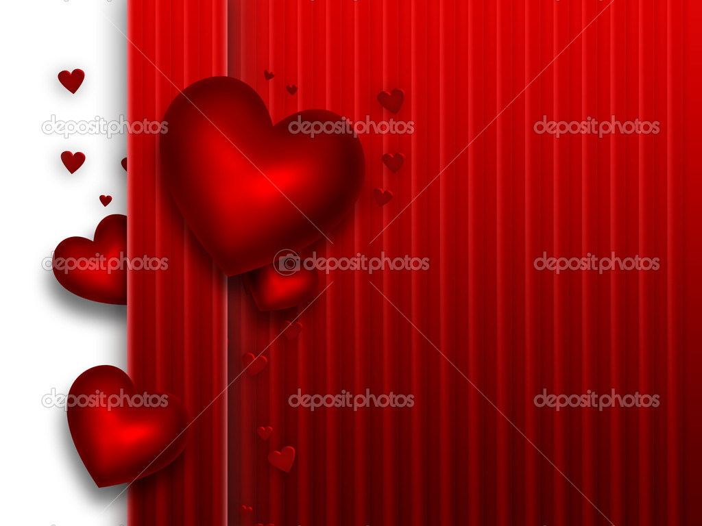 Romantic red background with hearts — Stock Photo #18674989