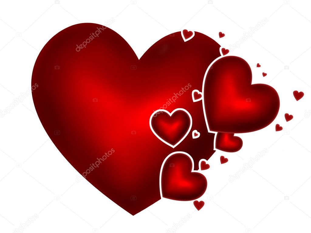Red hearts on a white background  Stock Photo #18675007