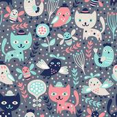 Cute cat and bird seamless pattern — Stock Vector