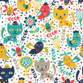 Cute cat and bird seamless pattern — Stock Vector