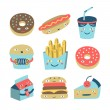 Fast food cartoon set  — Imagen vectorial