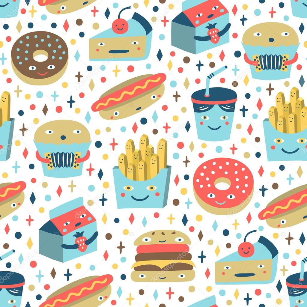 Stock Illustration Fast Food Seamless Background on Pizza Clip Art Pics Funny Cartoons