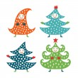 Christmas tree set — Stock Vector