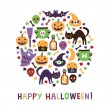 Halloween round card — Stock Vector