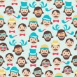 Hipster faces seamless pattern  — Stock Vector
