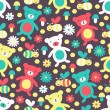 Bear and bee seamless pattern  — Stockvectorbeeld