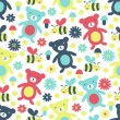 Bear and bee seamless pattern — Stock Vector