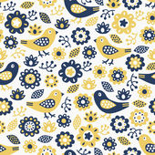 Bird and flower seamless pattern — Stock Vector