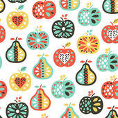 Apple and pear seamless pattern — Stock Vector