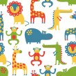 African animal seamless pattern — Stock Vector