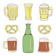 Stock Vector: Cartoon beer set