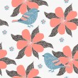 Bird and flower background — Stock Vector