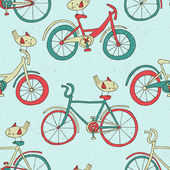 Bicycle doodle pattern — Stock Vector