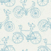 Bicycle doodle pattern — Vecteur