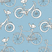 Bicycle doodle pattern — Stockvektor