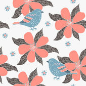 Bird and flower background — Stock Vector