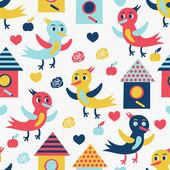 Bird seamless background — Stock Vector