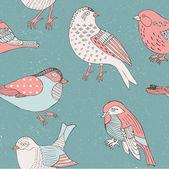 Bird hand drawn pattern — Stock Vector